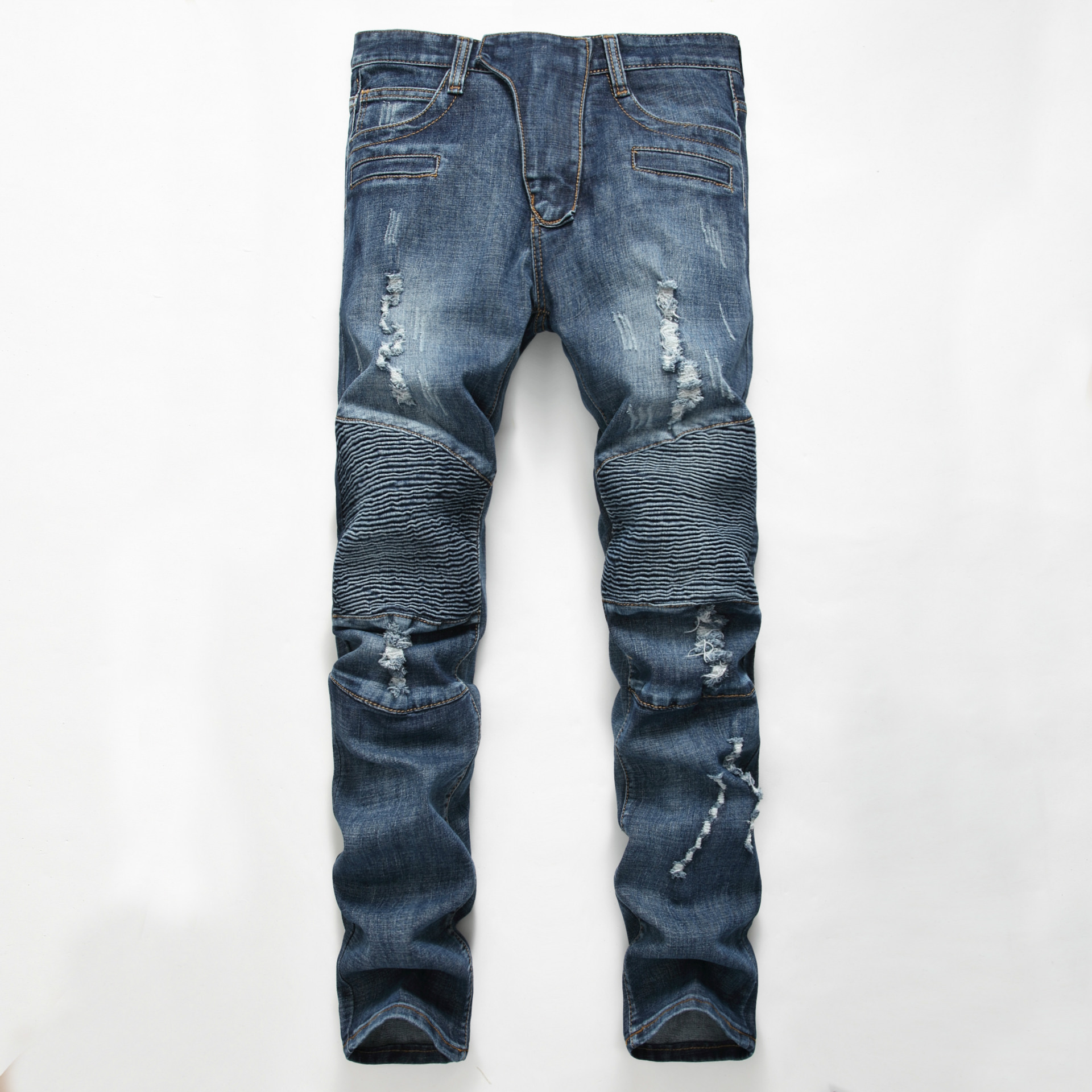Europe and the United States denim trousers men's stitching locomotive feet pants punk Slim stretch   jeans   tide men's casual men'