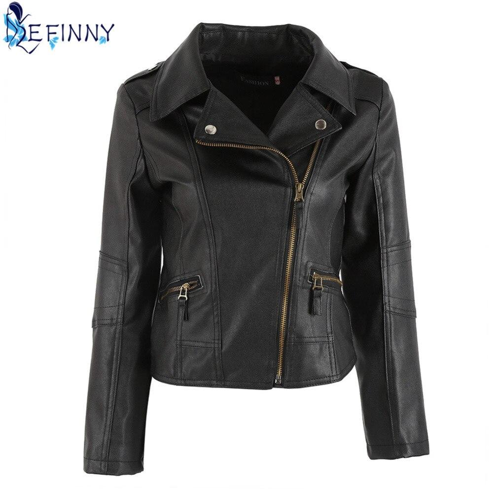 2018 Fashion Newest Women Leather Windproof Full Sleeve Cool Motorcycle Zipper Turn-down Collar Punk Coat Biker Jacket Outwear