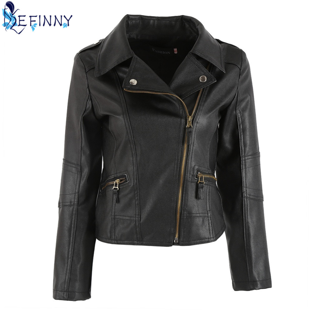 2018 Fashion Newest Women   Leather   Windproof Full Sleeve Cool Motorcycle Zipper Turn-down Collar Punk Coat Biker Jacket Outwear