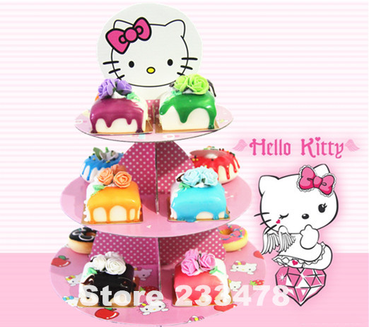 Free shipping 1 set anime Hello Kitty birthday baby shower party cardboard cupcake stand hold 24 cupcakes AW-1004