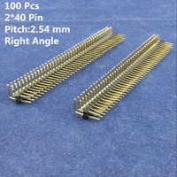 Wholesale 100 Pcs/pack 2*40 pin pitch 2.54mm Copper Male Double Row Right Angle Breakable Pin Header