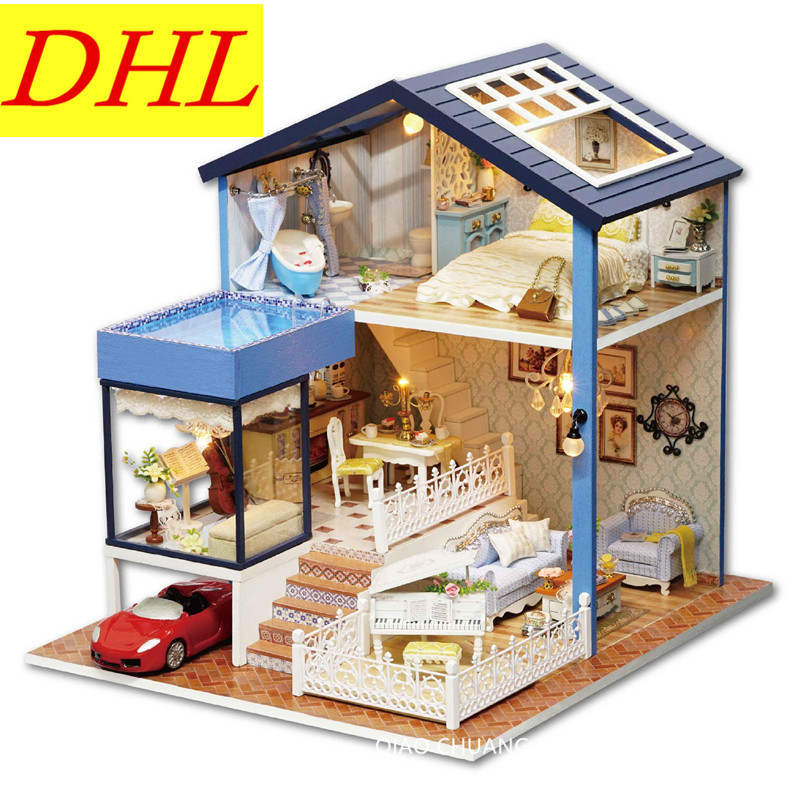 Diy Production Refinement Seattle Villa Wood House Educational Toys House And Home Furnishings Send Creative Birthday Gift L477 little white dragon assembling toys educational toys girl fantasy girls beach villa 423