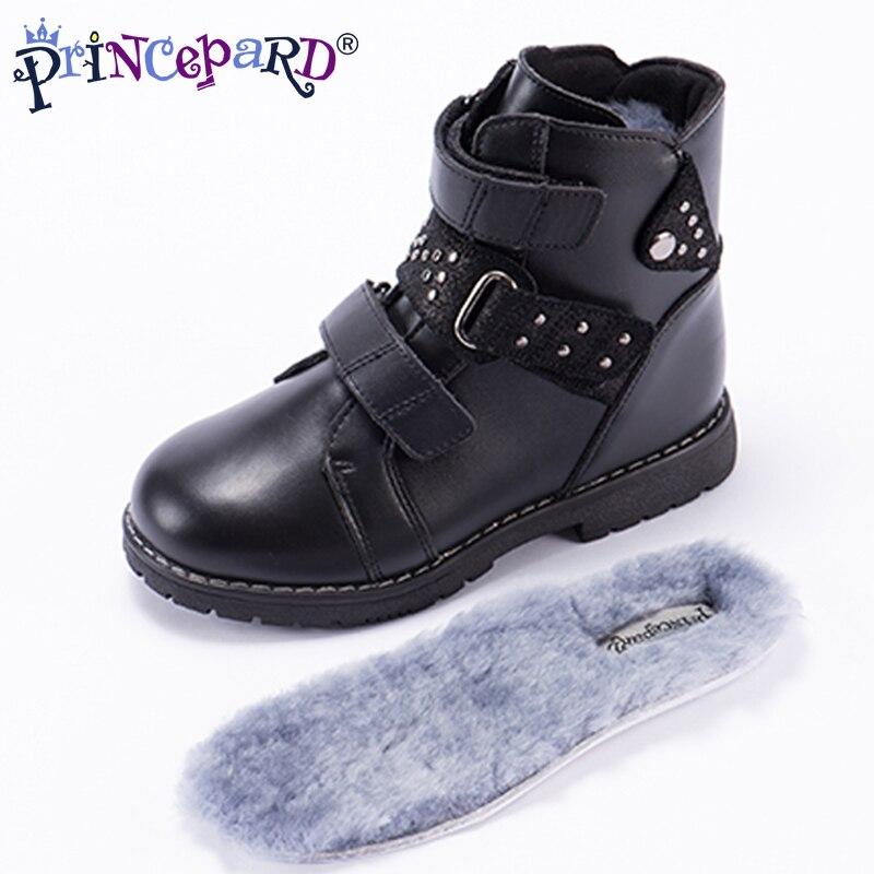 Princeprd orthopédiques de 2018 nouveaux hiver classique enfants bottes garçons filles véritable en cuir orhopedic chaussures enfants 100% natral fourrure