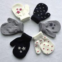 1 пара, Новое поступление, варежки в горошек со звездами и сердечками, детские перчатки, мягкие вязаные теплые варежки, ганты, chaud enfant
