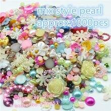50 gramm mixed 4-20mm verschiedene größe, stil harz perle flache rückseite perle runde, bogen, blume für ornament multicolor