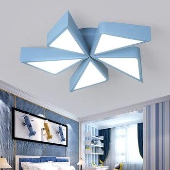 الوردي + الأزرق الوردي الأزرق طاحونة شكل ماتيل الكرتون أضواء السقف للأطفال طفل الفتيان الفتيات غرفة يعتم مصباح السقف للمنزل