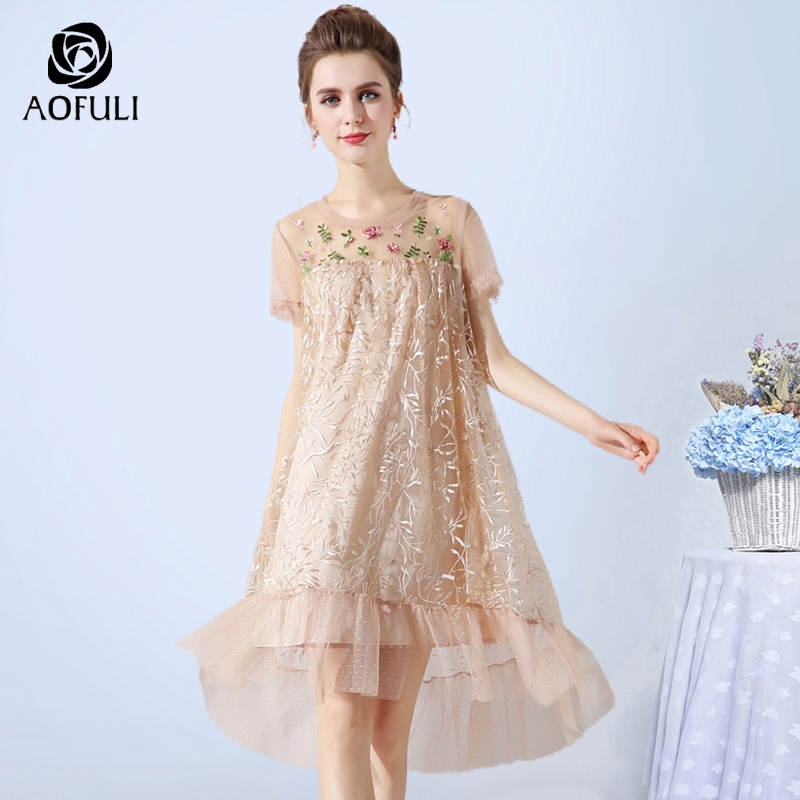 fececb8a04062 Detail Feedback Questions about AOFULI L XXXL 4XL 5XL Sexy See through  Floral Embroidered Mesh Dress Summer Plus Size Women High low Trumpet Party  Dress ...