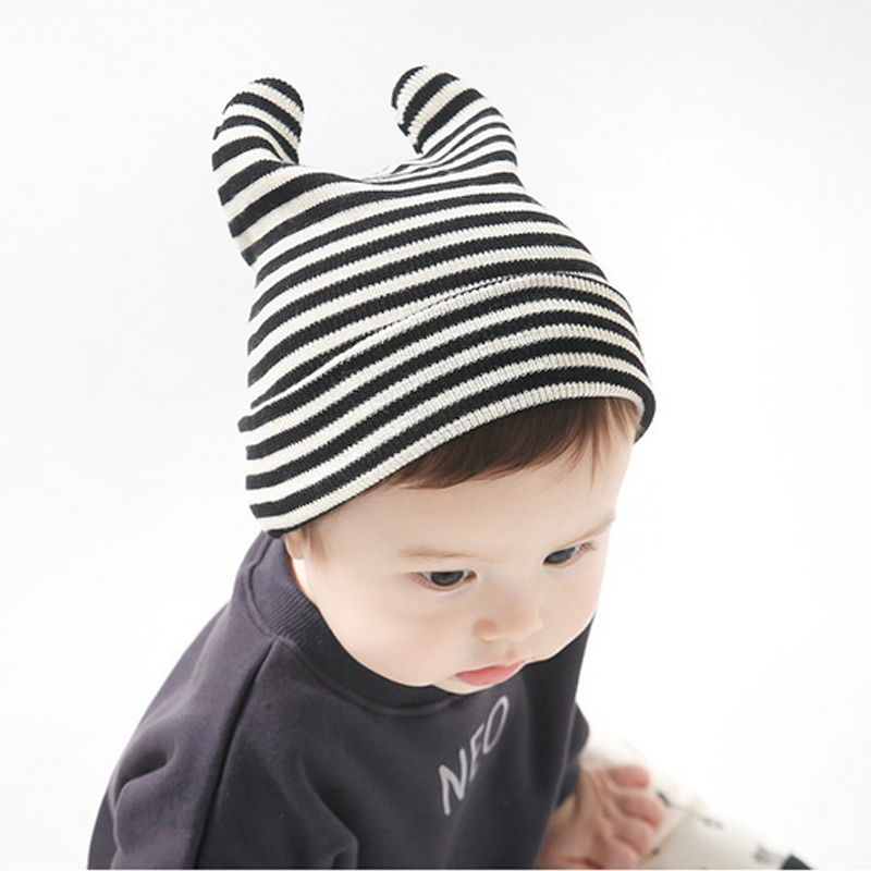 824b1590d57 Little Devil Shape Baby Hat OX Horn Warm Knitted Hats For Boys And Girls  Stripe Funny Toddler Hats For Baby Sleeping Head Care