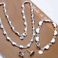 Moda 925 plata de la joyería, plata Slippy Pea hearts, collares de plata, pulsera del perno prisionero S072