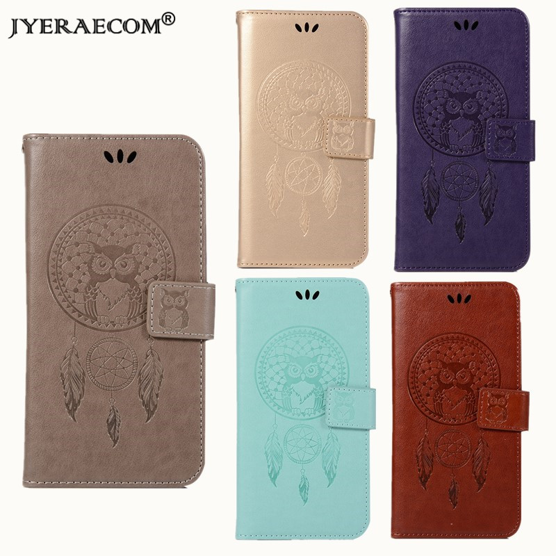 JYERAECOM Luxury Retro PU leather+TPU Case For Huawei P9 OWL Flip Wallet Cover For Huawei P9 Case Phone