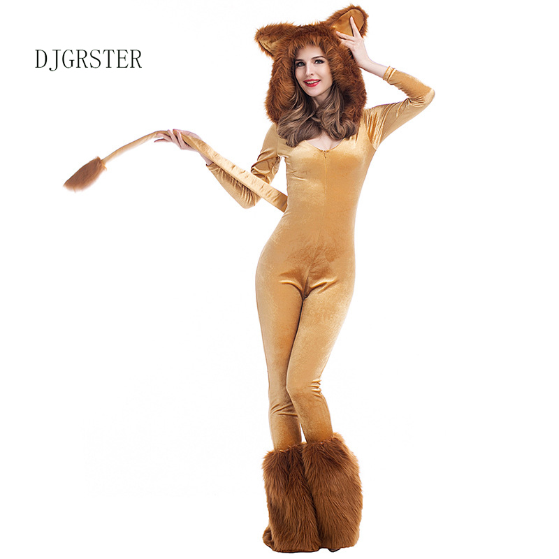DJGRSTER Women Deluxe Lion Costume Lady Animal Halloween Cosplay Costumes Fancy Wizard of Oz Movie Role Jumpsuits 4pcs/Set-in Game Costumes from Novelty ...  sc 1 st  AliExpress.com & DJGRSTER Women Deluxe Lion Costume Lady Animal Halloween Cosplay ...