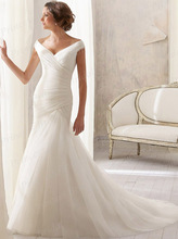 Free Shipping Fairytale Wholesale Price Bridal Gown Trumpet V Neck Pleat Sweep Train Simple Design Wedding