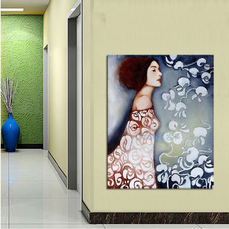 Hand painted modern portrait oil painting on canvas elegant lady decorative wall pictures home decor ready to hang in Painting Calligraphy from Home Garden