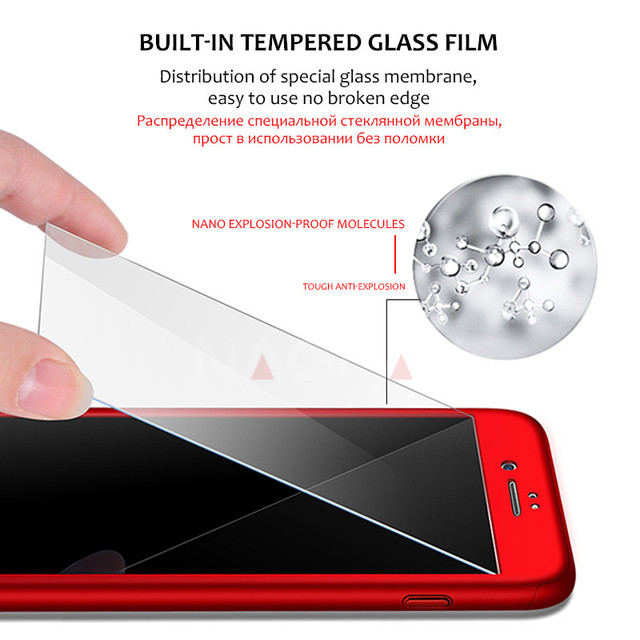 360 Protective Case For iPhone 6 6S 7 8 Plus Tempered Glass Front Back Cover