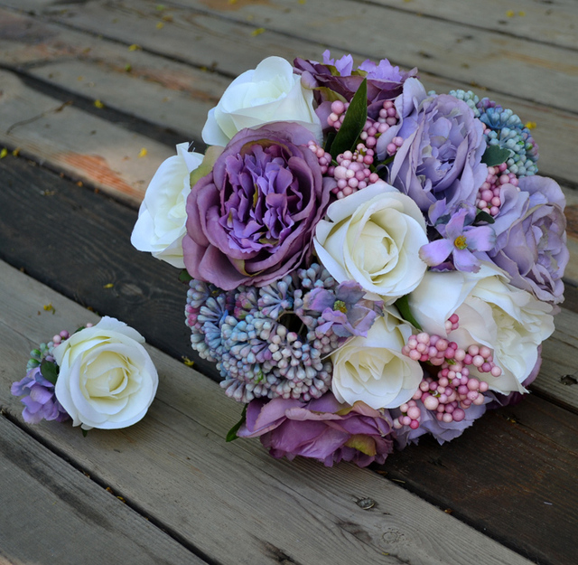 Handmade Artificial Flower Wedding Bride Holding Flowers Vintage White Purple Rose