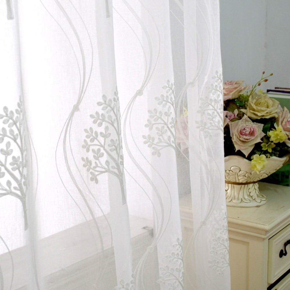 European Style  Embroidered Tulle Curtains For Living Room Tree Plants Volie  Sheer White Curtains Visillos Cortinas Screens