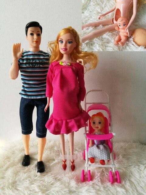 2016 Семьи 4 Человек Куклы Костюмы 1 Мама/1 Папа/1 Немного келли Девушка/1 Маленький Сын/1 Детская Коляска для barbie, Реального Беременная Кукла подарки
