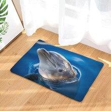 CAMMITEVER Silla de Yoga para puerta de pie alfombra de juego para baño, pasillo, decoración Rectangular para el hogar, Delfín en mar azul