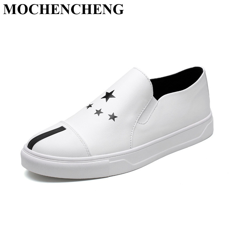 New White Shoes for Men Causal Shoes with Star Decro Fashion Slip-on Loafers Summer Breathable Waterproof Flat Leisure Shoes