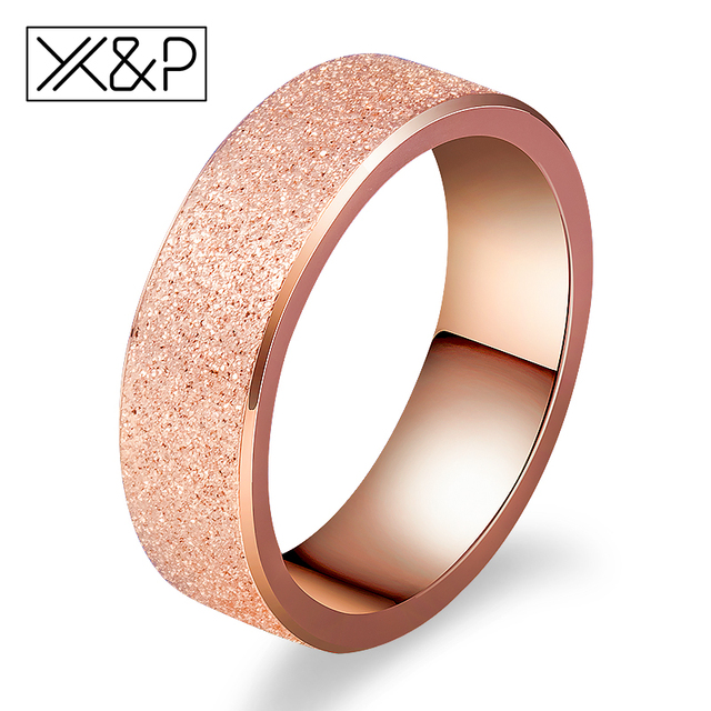 X&P Fashion Charm Rose Gold Frosted Finger Rings for Women Men Wedding Top Quali