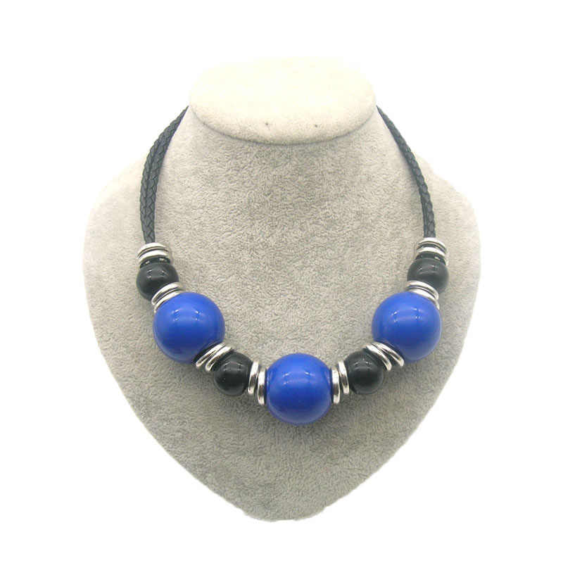 Dandie Big Acrylic Bead Necklace, Leather Necklace, Choker Women Jewelry