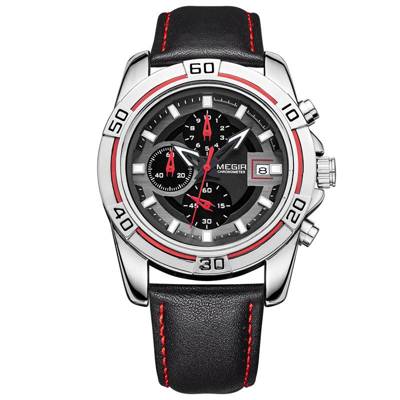 Prix pour MEGIR Hommes de Montres Militaires Marques Édition Limitée Relogio Running Man Quartz masculino montre-bracelet en cuir Chronographe 2023