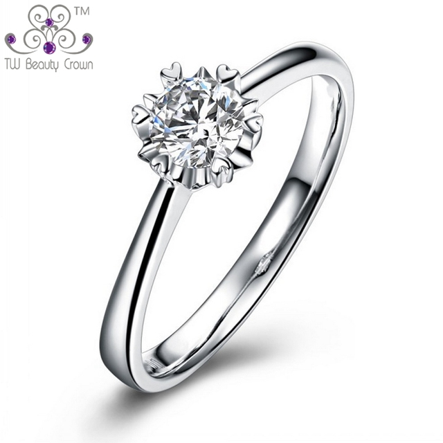 Hight Quality 1 Carat Genuine 925 Sterling Silver Romantic Shining Clear Cubic Zirconia Wedding Round Heart RingFor Woman Female