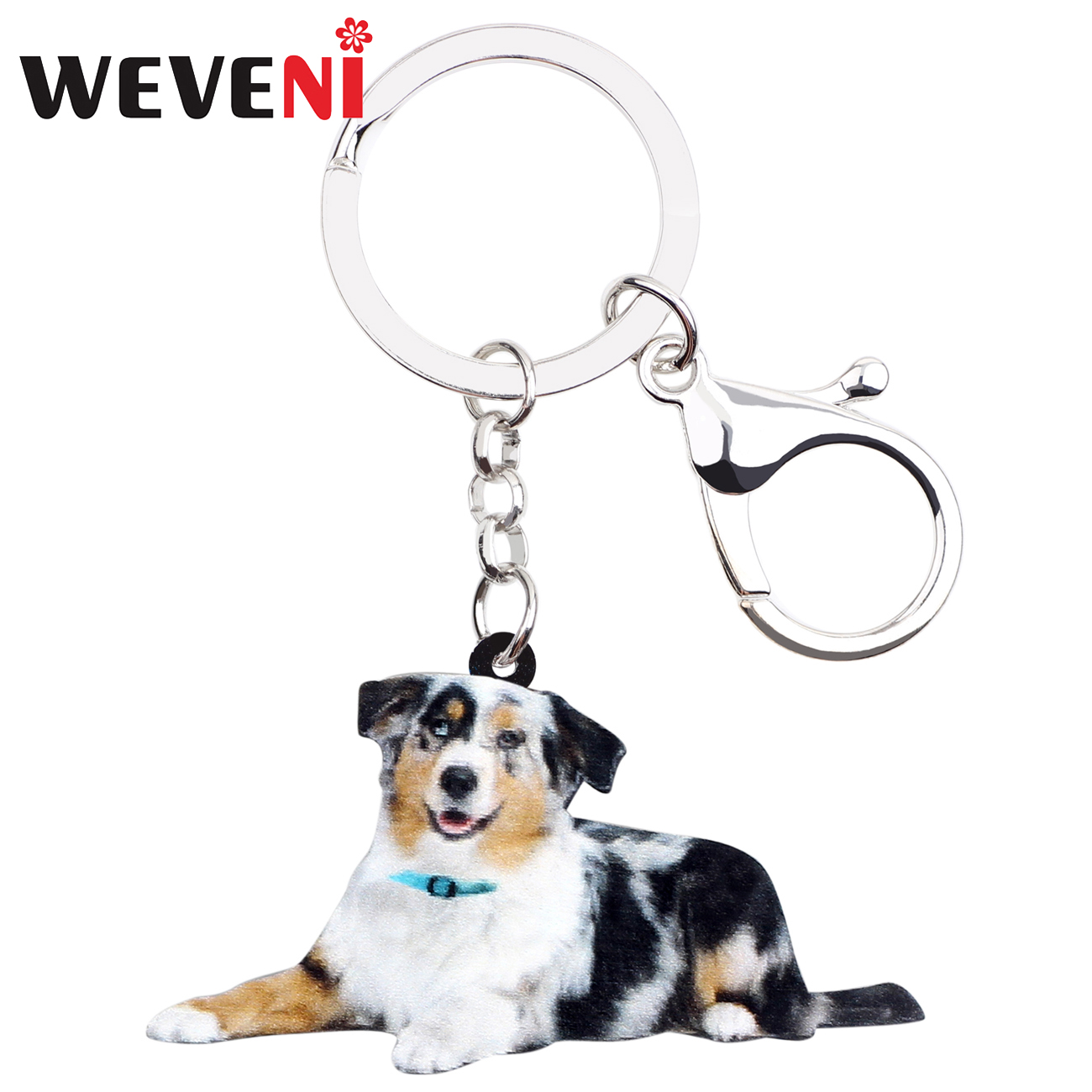 WEVENI Acrylic Australian Shepherd Dog Key Chain Keychain Holder Animal Pet Jewelry For Women Girls Gift Bag Car Charms Pendant
