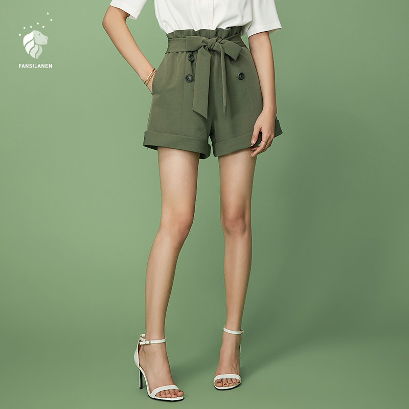 FANSILANEN 2019 New Arrival Fashion Summer Women Above Knee Mini   Shorts   High Waist   Shorts   Solid White/Green Bow Z82057