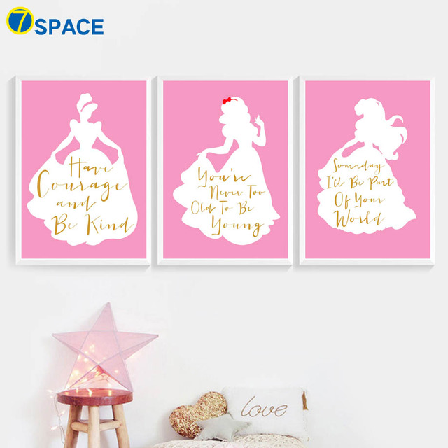 Little Girl Princess Motivational Quotes Wall Art Canvas Painting
