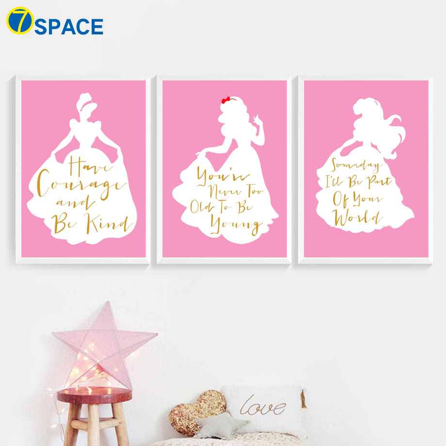 Princess Girl Quotes: Pink Little Girl Princess Quotes Wall Art Canvas Painting