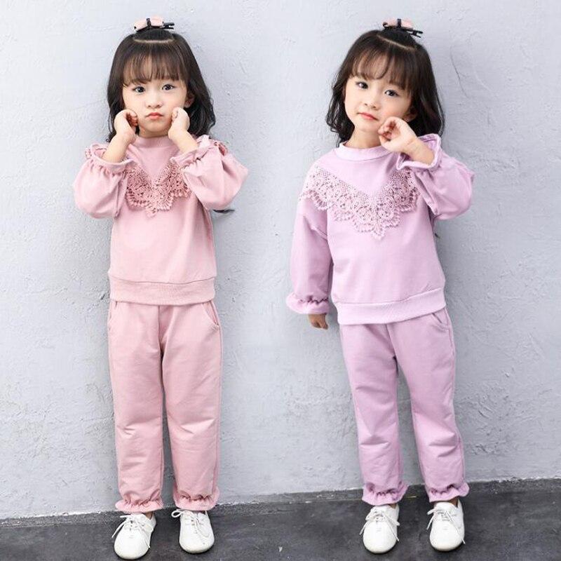 cc5582ea Fashion Princess Clothing Sets For Girls T-shirts + Pants 2pcs Clothes Set  Girls Sweater With Lace Kids Costumes Crianca Roupas