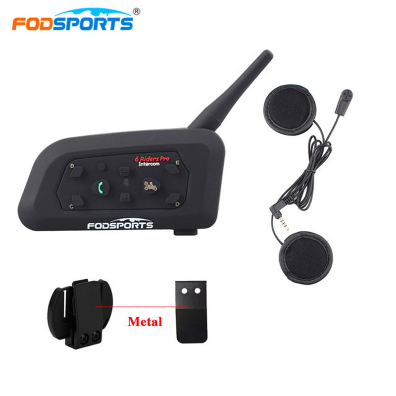 Fodsports Helmet Headset Microphone Bluetooth-Intercom Moto 6-Rider 1200M Wireless Soft