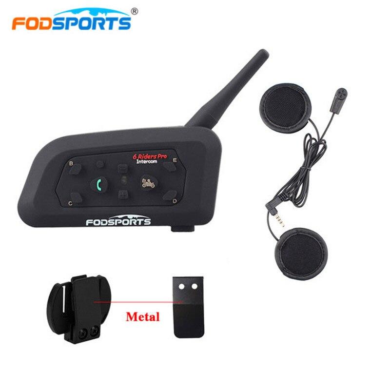 Fodsports V6 Pro 6 Rider Intercomunicador Moto Sem Fio fone de Ouvido do Capacete Do Bluetooth Interfone 1200 M BT Interphone Moto Suave Microfone