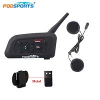 Fodsports V6 Pro Intercom Motorcycle Wireless Bluetooth Intercom Helmet Headset 6 Rider 1200M Moto BT Interphone Soft Microphone