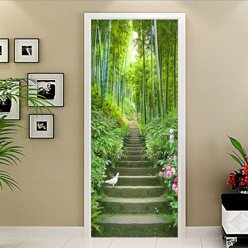 PVC Self-Adhesive Waterproof Door Sticker 3D Green Forest Bamboo Ladder Murals Wallpaper Living Room Home Decor Wall Sticker 3 D