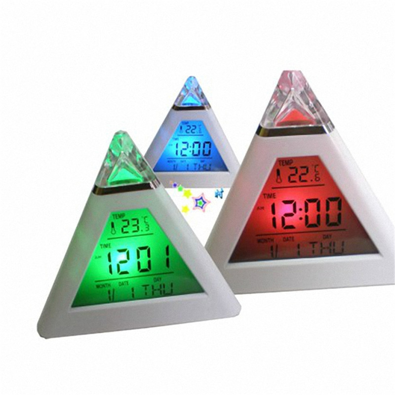 Moon Alarm Clock 7 LED Change Colors Pyramid LCD Digital Snooze Alarm Clock Time Data Week Temperature Alarm Clock 2017