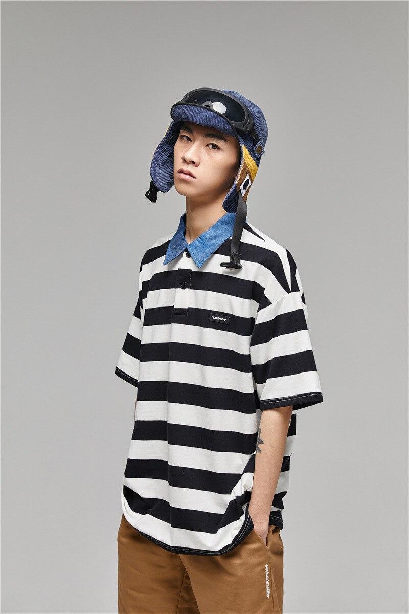 Harajuku summer 2019 new   Polo   shirt men and women stripes Hong Kong style youth loose short sleeve tee