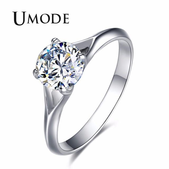 UMODE Fashion Luxury Women Engagement Rings 0.75ct Crystal Zircon Stone Female Wedding Gift Finger Jewelry Accessories UR0402