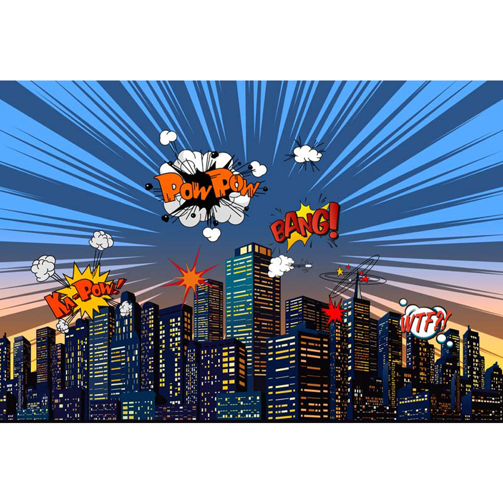 Cartoon Superhero Themed Backdrop Photography Printed Blue Sky City Buildings Baby Kids Birthday Party Photo Booth Background
