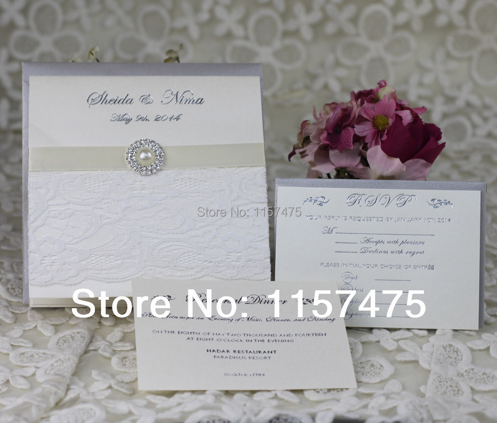 HI1003 Customized White Lace Wedding Invitation Cards with Brooch-in ...