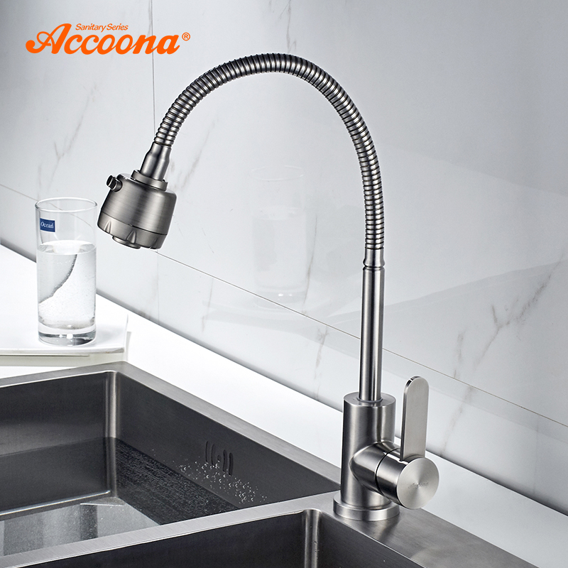 Accoona stainless steel 304 Kitchen Faucet Mixers Sink Tap Wall Faucet Modern Hot and Cold Water Kitchen Tap New Style A48104 цена 2017