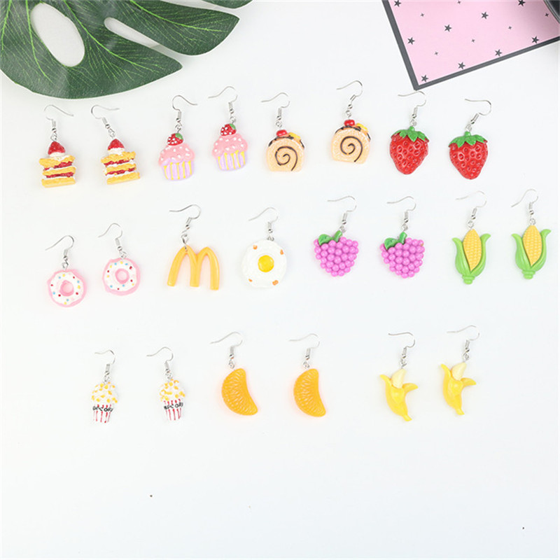 Korean Cute Cartoon Cake Donut Pop Corn Grape Banana Strawberry Woman Girls Hook Dangle Drop Earrings Fashion Jewelry-LAF