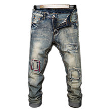 2019 Spring Ripped Mens Jeans Blue Gray Distressed Patchwork Denim Straight Jeans For Men Mj003 mens distressed jeans ripped patchwork slim straight jeans darked wash print velvet lining warm jeans for men 15803