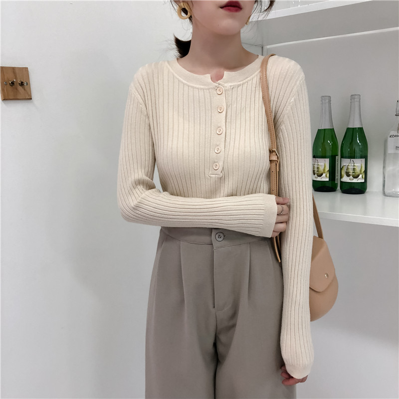 Colorfaith Women Pullovers Sweater New 19 Knitted Autumn Winter Spring Fashion Sexy Elegant Buttons Casual Ladies Tops SW9065 19