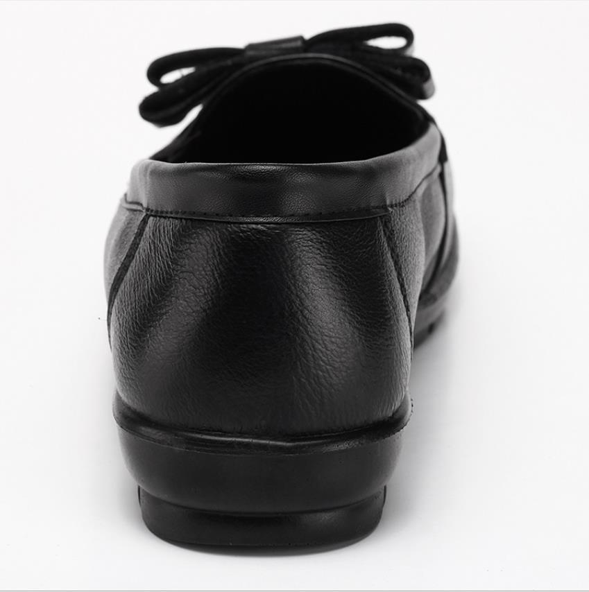 Femmes Femelle Nouvelles 2018 Arc Grande Taille Peu Cuir Mère En Simples Chaussures Noir Profonde Moyen D'âge De Bouche 5qpw8pd