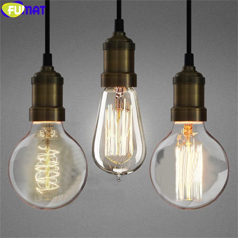 FUMAT American Retro Edison Bulbs Pendant Light For Stairs European Simple Bar Dinning Room Lamp Bronze Iron Pendant Lamp