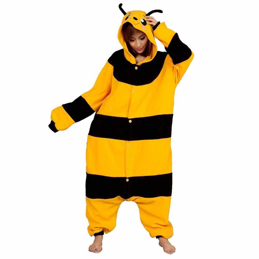 Забавные Onesie флис пчелы кигуруми животных комбинезон с пчелами пижамы  взрослых для Хэллоуина косплэй костюм 98caf9c8f723e
