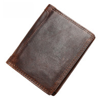 The New Crazy horse skin men's wallet Retro Leather short section Wallet / wallet and more Card position wholesale Dropship