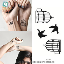 Hot Selling Harajuku Waterproof Stickers Male And Female Couple Models Fake Temporary Tatoo Stickers Of Birds And Cages
